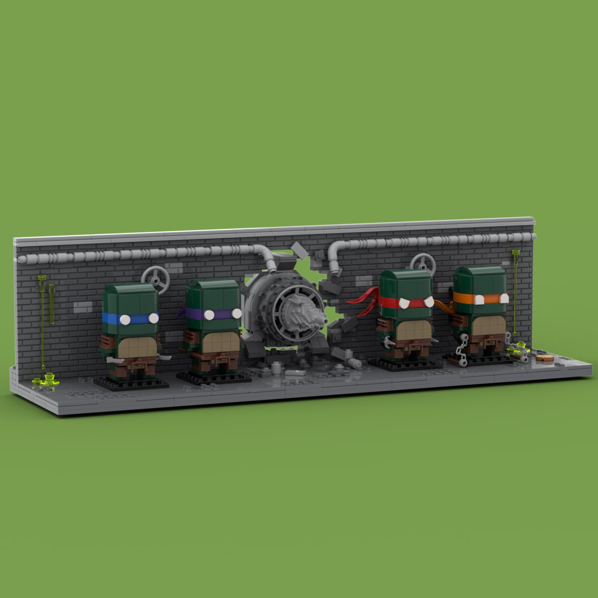 PDF INSTRUCTIONS ONLY Lego Ninja Turtles Brickheadz Display Stand Custom MOC